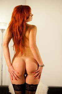 Sexy Redhead Babe Kety Pearl Posing In Black Stockings 11