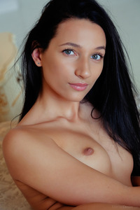 Raven Haired Beauty Kenya Spreading On A Bed 07