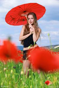Sofiya Naked Posing Between Flowers  00