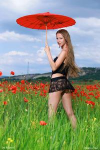Sofiya Naked Posing Between Flowers  01