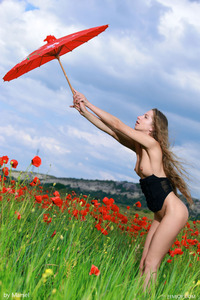 Sofiya Naked Posing Between Flowers  05