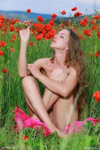 Sofiya Naked Posing Between Flowers  09