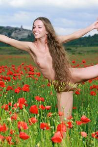 Sofiya Naked Posing Between Flowers  18