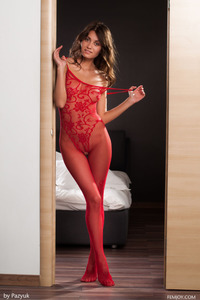 Lindsey In Sexy Red Fishnet Bodystocking 00