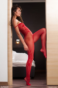 Lindsey In Sexy Red Fishnet Bodystocking 02