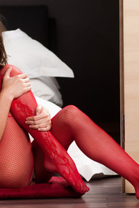 Lindsey In Sexy Red Fishnet Bodystocking 05