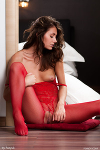Lindsey In Sexy Red Fishnet Bodystocking 09