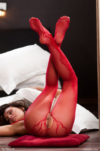 Lindsey In Sexy Red Fishnet Bodystocking 10