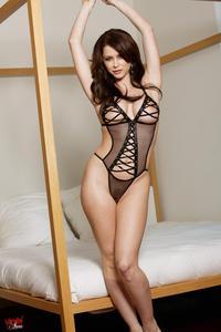 Emily Addison Sexy Black Lingerie 00