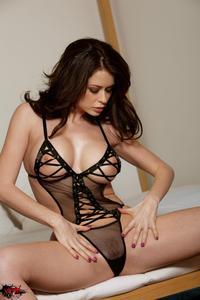 Emily Addison Sexy Black Lingerie 11