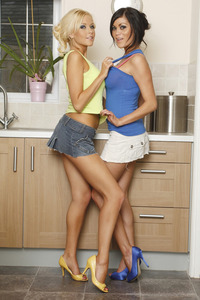 Ana DeLeon Morgan Lees Strip Out Of Their Cute Mini Skirts 00
