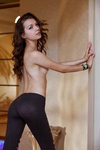 Brunette Iva Posing In Hot Black Pants 05