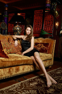 Hot Brunette Teen Tammi Lee Spreading On The Sofa 00