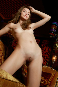 Hot Brunette Teen Tammi Lee Spreading On The Sofa 05