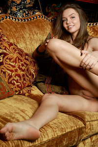 Hot Brunette Teen Tammi Lee Spreading On The Sofa 15
