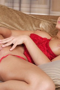 Sexy Blond In Red Lingerie Shows Her Beautiful Pussy 09