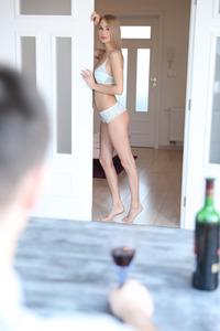 Slim Blonde Beauty Nancy Watches Herself In The Mirror 09