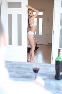Slim Blonde Beauty Nancy Watches Herself In The Mirror 10