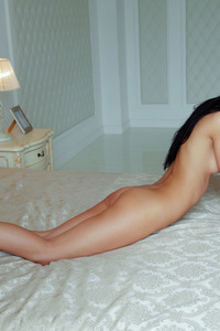 Raven Haired Beauty Kenya Spreading On A Bed 10