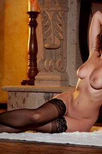 Glam Babe Carlotta Champagnestrips By The Fireplace 11