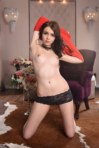 Brunette Cutie Lily Sands Undressing And Posing 01