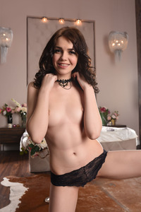 Brunette Cutie Lily Sands Undressing And Posing 02