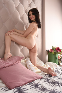Brunette Cutie Lily Sands Undressing And Posing 12