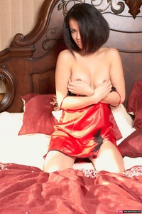 Sabrina Slips Out Of Her Sexy Red Silk Babydoll 09